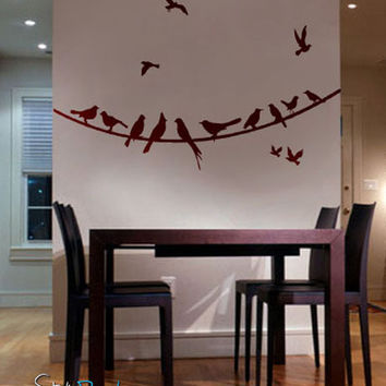 Vinyl Wall Decal Sticker Flying Birds on Wire #294
