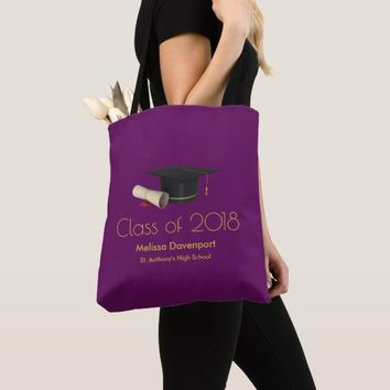 Graduation Cap and Diploma on Purple Class of 20XX Tote Bag