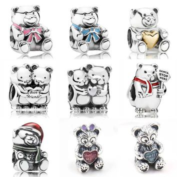 Christmas Polar Bear Best Friend Baby Boy & Girl Teddy Bear Charms Fit Pandora Bracelet 925 Sterling Silver Bead Charm Jewelry