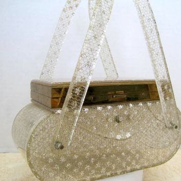 Vintage 50's Wilardy Gold Glitter Lucite Purse