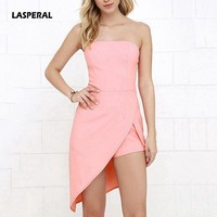 LASPERAL 2017 Summer New Romper Women Slim Sexy Boob Tube Top Off Shoulder Jumpsuit Irregular Sandbeach Partywear Pink Playsuits