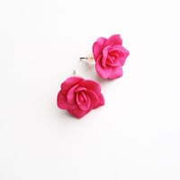 fuchsia earrings, fuchsia jewelry, fuchsia stud earrings, polymer clay earrings, stud earrings, fuchsia, fuchsia flower studs,