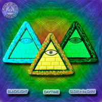 EyeGloArts blacklight Psytrance GLOW in the dark jewelry rave candy Illuminati all seeing eye yellow pyramid pendant clubwear