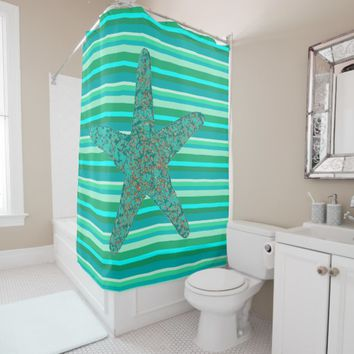 Blue & Green Stripes With Starfish Shower Curtain