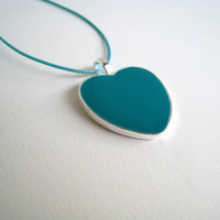 Heart necklace teal green blue. Minimalist charm romantic pendant baby shower, neweborn, mothers day love spring summer greek jewelry custom
