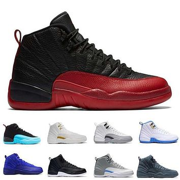 with box air retro 12 xii man basketball shoes ovo white the master gym red flu game taxi playoffs barons sneakers sports shoes