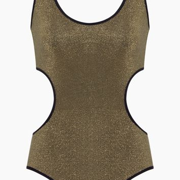 Side Cut-Outs One Piece Swimsuit - Gold Lurex