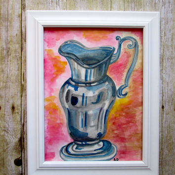 Home Decor still life 9x12 original watercolour painting.Kitchen art,wall art,pewter canister,vase,colourful,simple,clean lines,minimalist.