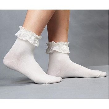 1 Pair Fashionable Lovely Cute New Vintage Retro Froral Lace Ruffle Frilly Ankle Socks Ladies 5 Colors
