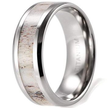 CERTIFIED 8mm Men's Beveled Edge Titanium Wedding Ring with Real Deer Antler Inlay