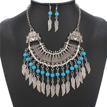Vintage Geometric Faux Turquoise Feather Tassel  Necklace and Earrings