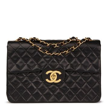 CHANEL BLACK QUILTED LAMBSKIN VINTAGE MAXI JUMBO XL FLAP BAG HB1546