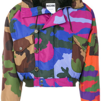 Moschino Camouflage Hooded Coat - Farfetch