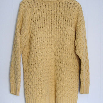 Women's Vintage hipster Oversized Heavy Cable Knit Sweater L