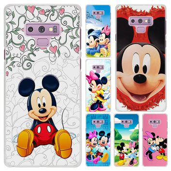 Cute Mickey Minnie Mouse Pattern Transparent frame hard Case Cover for Samsung Galaxy Note 9 8 Note 5 S6 S7 Edge S8 S9 Plus