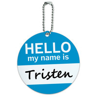 Tristen Hello My Name Is Round ID Card Luggage Tag