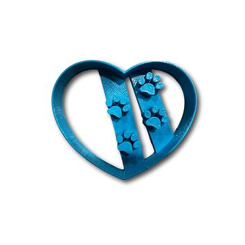 Heart with Dog Paws Cookie Cutter