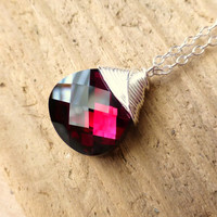 Swarovski Ruby Red Crystal Necklace, Ruby Mangenta Red Swarovski Crystal Wire Wrapped Briolette, Sterling Silver Necklace