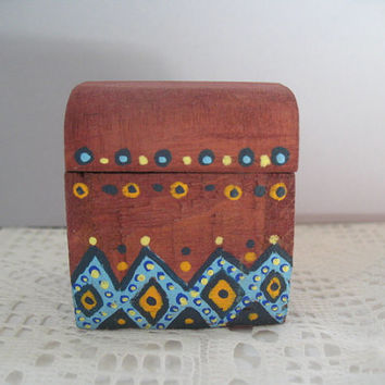 Miniature Box Handpainted Hinged Box Dollhouse Decor