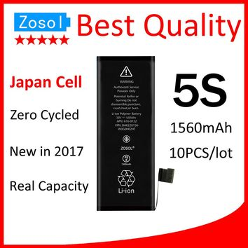 10pcs/lot Best Quality 0 Zero Cycled Battery for iPhone 5S 1560mAh 3.7V Replacement Repair Parts