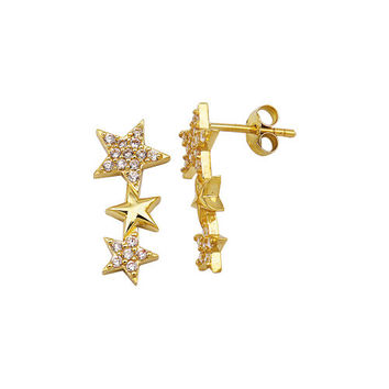 Three Star 14k Solid Gold Earring Best Price