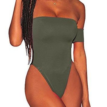Womens Cheeky One Piece Swimsuit High Cut Off The Shoulder Sexy Criss Cross Monokini