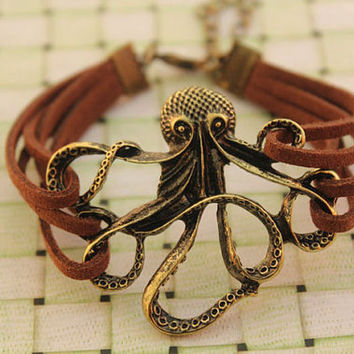 octopus bracelet,retro bronze octopus pendant,brown rope bracelet---B293