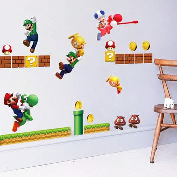 Super Mario party nes switch Wall Stick Toy Wall Sticker Removable Decal Cartoon Large Home decoration Art Nursery Kid Mural with Yoshi  pattern AT_80_8