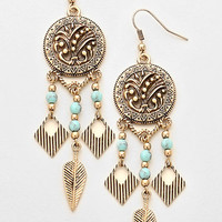 Antique Gold Tribal Aztec Turquoise Disc Chandelier Earrings