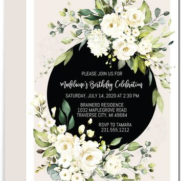 White Floral Birthday Invitations