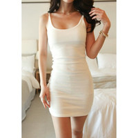 White Spaghetti Strap Sleeveless Dress