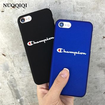 Phone Cases For iPhone 5 5S SE 6 6s 7 8 Plus Case Fashion Black Blue Champion Plastic For iPhone 7 8 Mobile Phone Cover Case
