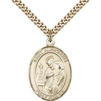 "Saint Alphonsus Medal For Men - Gold Filled Necklace On 24"" Chain - 30 Day Mo... 617759327373"