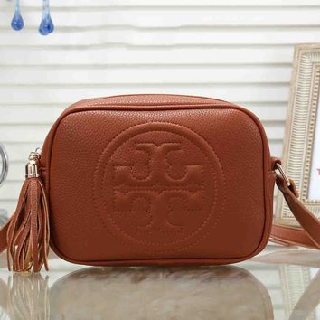 Tory Burch Fashion Women Tassel Leather Shoulder Bag Crossbody Satchel Brown
