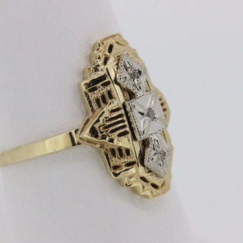 Art Deco Ring Shield Ring Estate Ring 10k Yellow Gold Ring Diamond Ring Right Hand Ring Cocktail Ring Gemstone Ring Size 7.5