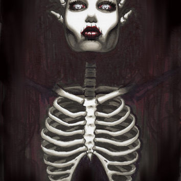 """Skeleton Pin Up """"Sinister"""" 12x18 limited edition print"""