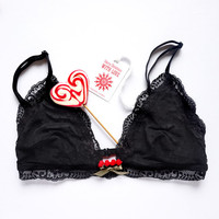 Black Lace Triangle-cut Bra, Sheer Lingerie, Christmas style, Holiday mood, Special Gift for Women