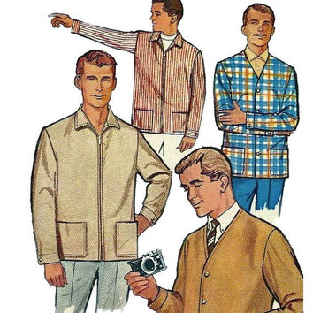1960s Men's Button Leisure Jacket & Zip Jacket w/ Patch Pockets Long Sleeves w/ Cuffs Chest 40 Simplicity 5210 UNCUT Vintage Sewing Pattern