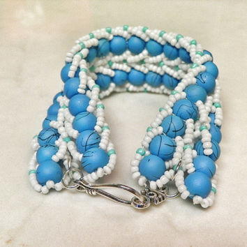 Beadwork Bracelet - White and Teal/Turquoise Seed Bead Bracelet - Double Flat Rope Design Bracelet - Patterned Bracelet