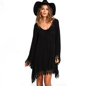 2017 Long Sleeve Black Dress Casual Femininos Crochet Floral Sexy Lace Dresses Sheer Boho People Style Women #Sali517