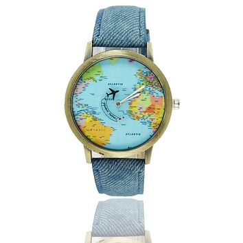 Women Fashion world map watch airplane Travel Around The World Vintage Casual Wrist Watches Women Dress Watch denim Leather