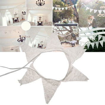 Romantic 12 Flags White Lace Vintage Party Wedding Pennant Bunting Banner Decor 2.8m Party Supplies