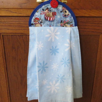 Christmas Kitchen Towel, Hanging Kitchen Towel, Hanging Dish Towel, Tie Towel, Snowman Hanging Towel