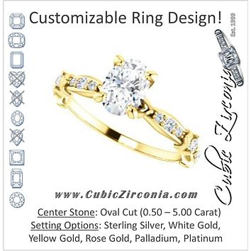 Cubic Zirconia Engagement Ring- The Willow (Customizable Oval Cut Artisan Design with 3 Kinds of Round Cut Accents)