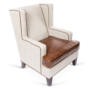 Stratford Leather Wingback Chair, Khaki, Wingbacks
