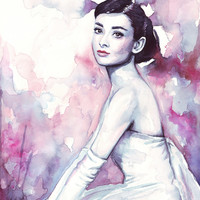 Audrey Hepburn Pretty Purple Watercolor Stretched Canvas by Olechka | Society6