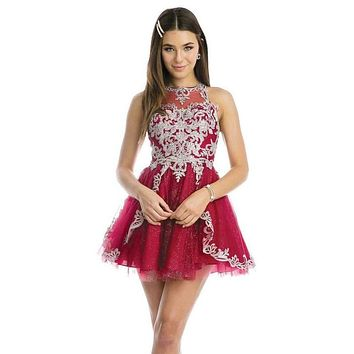 High-Neck Embroidered Homecoming Short Dress Burgundy
