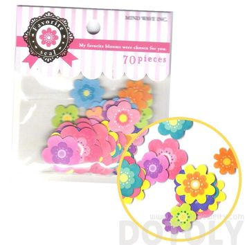 Colorful Daisy Floral Flower Shaped Sticker Flake Seal Sack From Japan | 70 Pieces