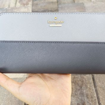 Kate Spade Cameron Street Daisy Lacey Zip Around Wallet Gray Colorblock