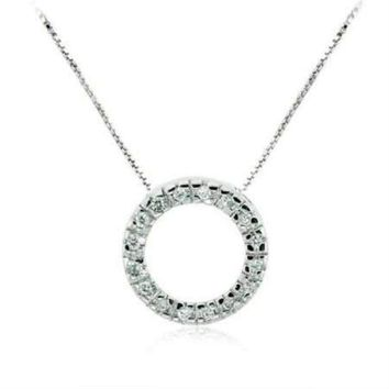 Celebrity Sterling Silver Pave Simulated Diamond CZ Eternity Circle of Friendship Pendant